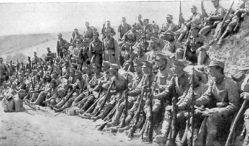 Austrian Trrops Relax After Long March