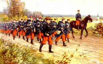 French Soldiers March to the Front