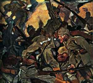 German Painting of Hand to Hand Fighting in the Ardennes