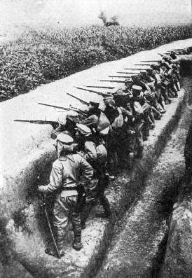 Japanese Troops in Action Near Kiaochow