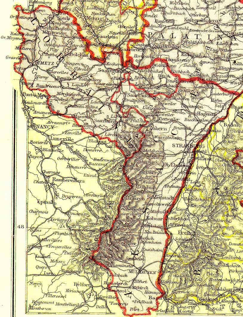 Map of Alsace-Lorraine. Click to Enlarge