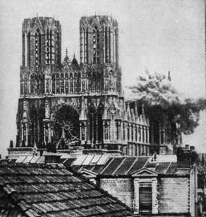 Rheims Cathedral being hit by German Artillery fire